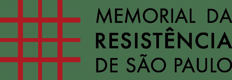 Logomarca composta por uma grade de cor vermelha à esquerda e à direita escrito em cor preta Memorial da Resistência de São Paulo