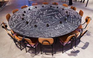 """Foto de uma larga mesa redonda preta com 17 cadeiras escolares dispostas ao seu redor. Sobre a mesa lemos escritas """"Escola de testemunhos"""" e várias outras palavras tais como """"Acessibilidade"""", """"Nós"""", """"A gente passa"""", """"Encontros"""" e muitas outras com o que parece ser giz de lousa."""