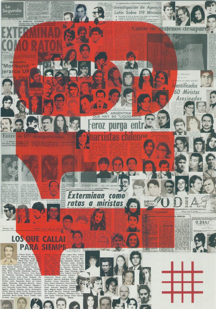 """Arte gráfica composta por várias fotos 3x4 mescladas a reportagens de jornal. Este fundo é em preto e branco. Sobre o fundo ocupando quase toda página lemos, na vertical, os números """"119"""" em vermelho. No canto inferior direito a grade da logomarca do Memorial."""