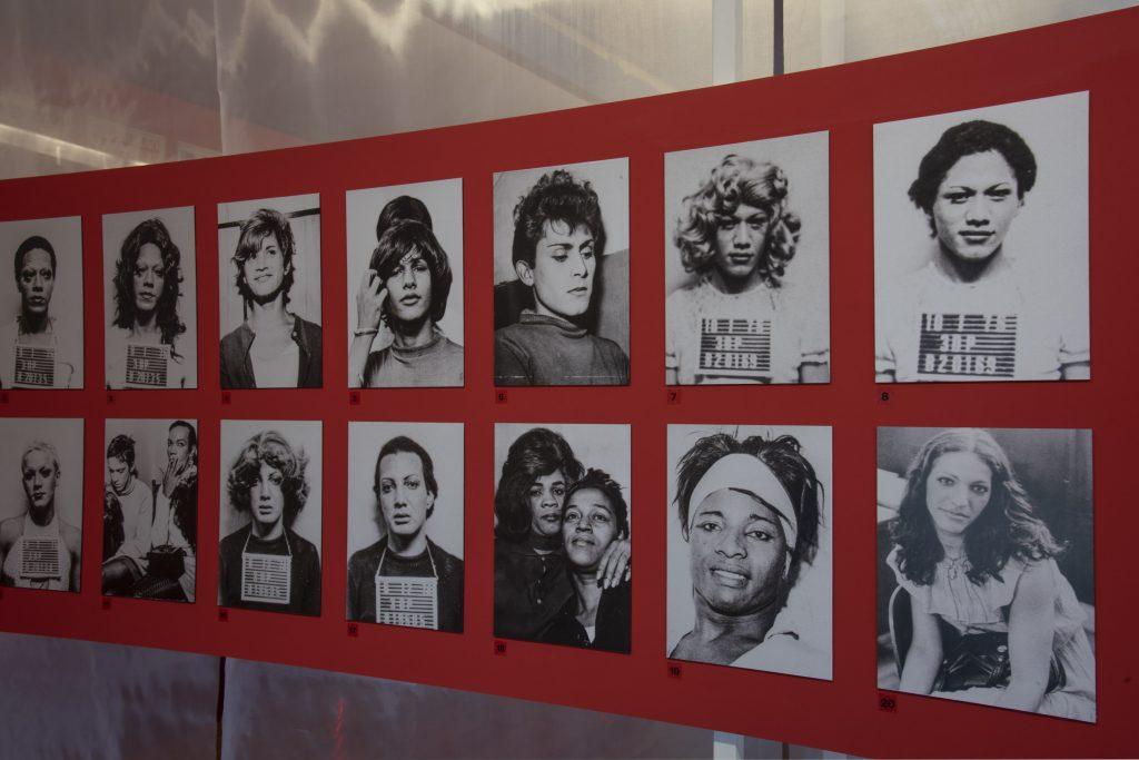 Fotografia de um dos painéis da exposição. O painel é vermelho de formato retangular alongado, nele estão contidas fotografias em preto e branco majoritariamente de rostos de pessoas, algumas estão com as placas policiais de identificação da polícia. São duas linhas de fotos com sete colunas, as fotografias são numeradas no canto inferior esquerdo de cada uma.